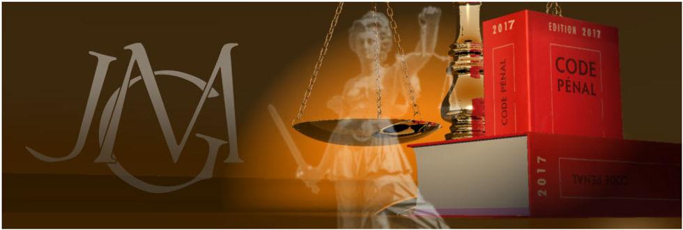 allégorie avec : justice, maillet et balance, code pénal, monogramme JGM