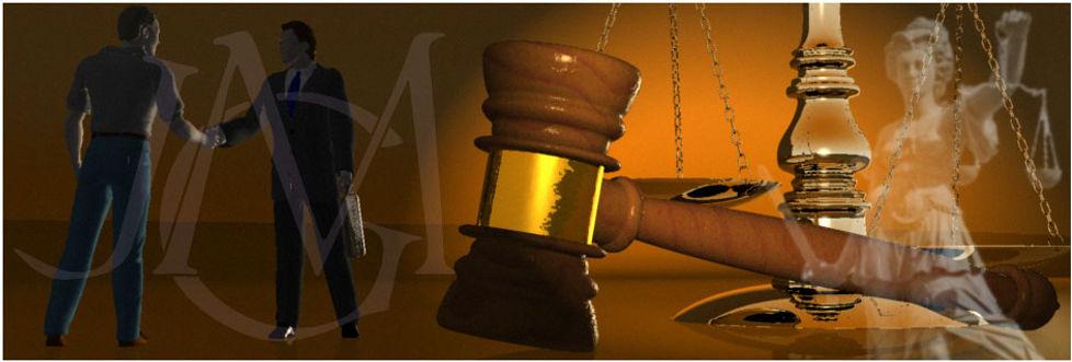 allégorie avec : justice, poignée de mains, maillet et balance, monogramme JGM