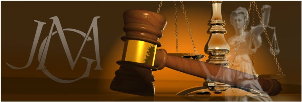 allégorie avec : justice, maillet et balance, monogramme JGM