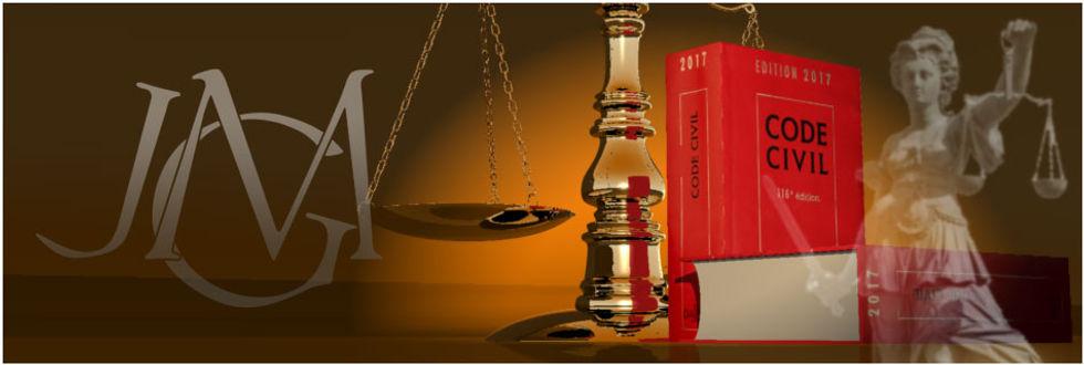 allégorie avec : justice, maillet et balance, code civil, monogramme JGM