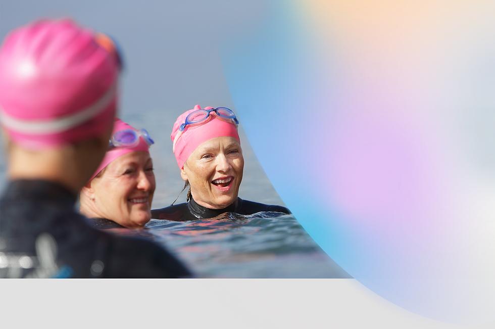 happy chronic pain patient swimming