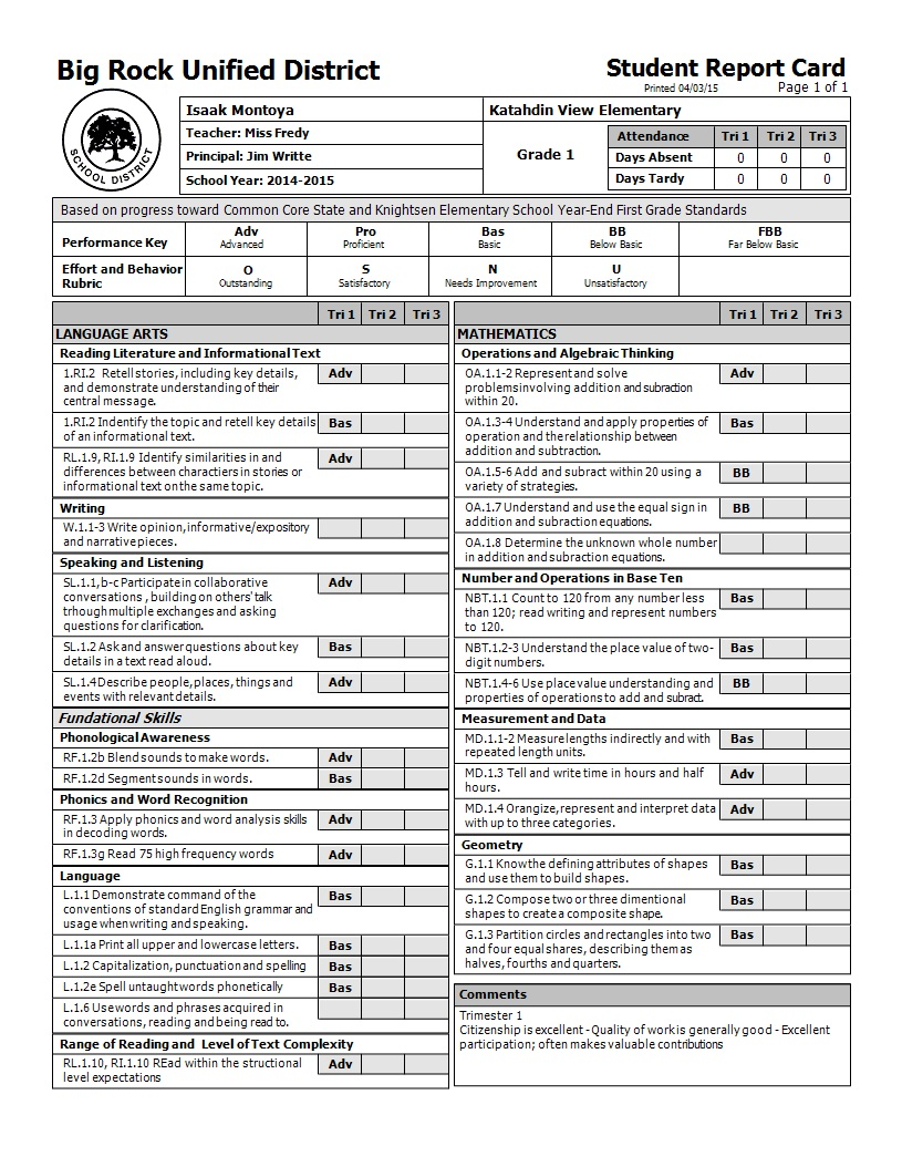 Common Core Report Cards