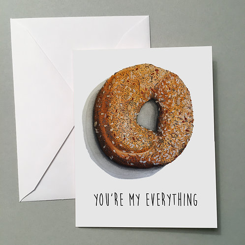 """""""Everything Bagel"""" w/ front text, Blank Card"""