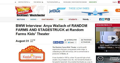 Broaday World article with Anya Wallach, Random Farms and Stagestruck