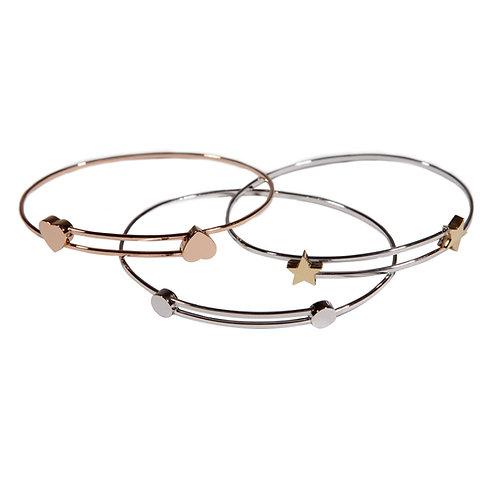 Bracelets S cœur étoile rond