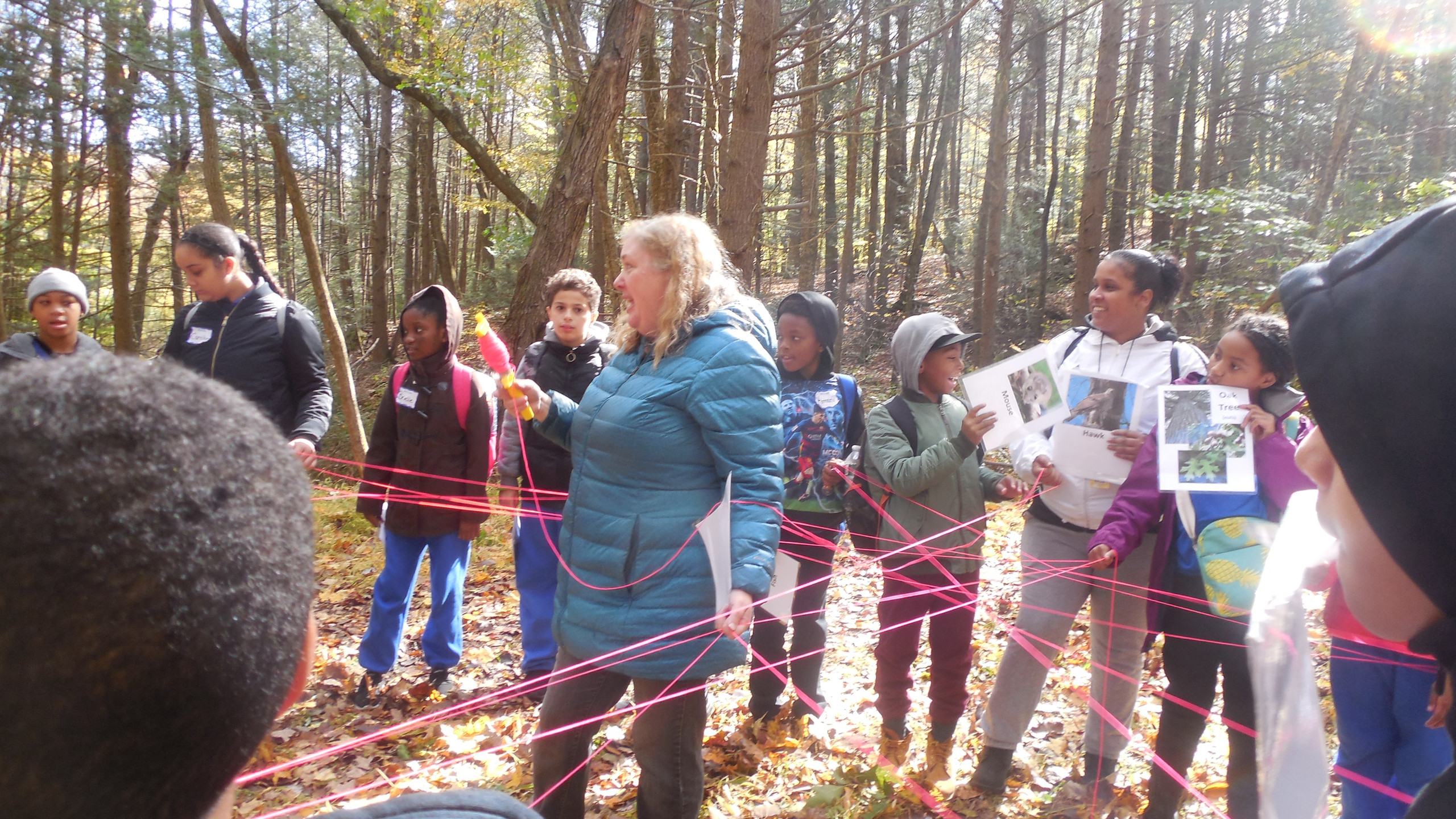 Anne Urkawich leads an activity for ASAP! Metamorphosis Program at Trolley Bed Preserve