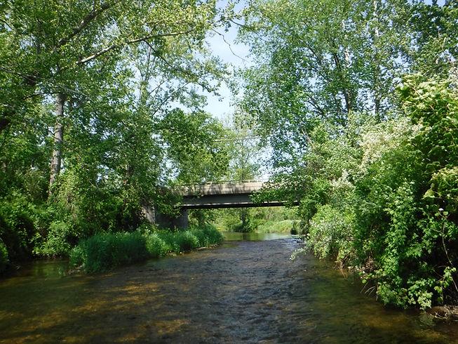 Nonnewaug River at Route 47 Bridge 2018.