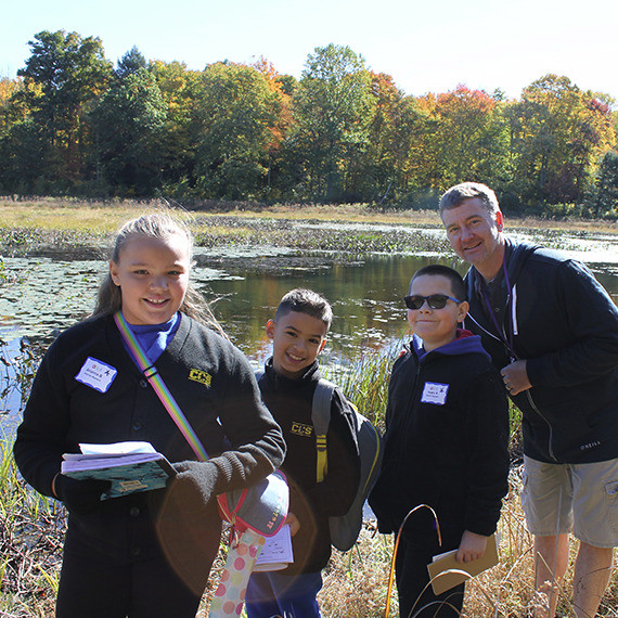 Mr. Nate and his fourth grade students from the Children's Community School of Waterbury searched for signs of animal life in and around the Woodbury Reservoir during an October field trip with PRWC.