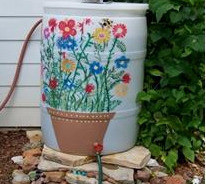 Rain barrels, like the one seen here, are an effective way to reduce your water footprint.