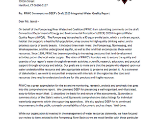 PRWC has Submitted Comments on DEEP's Integrated Water Quality Report