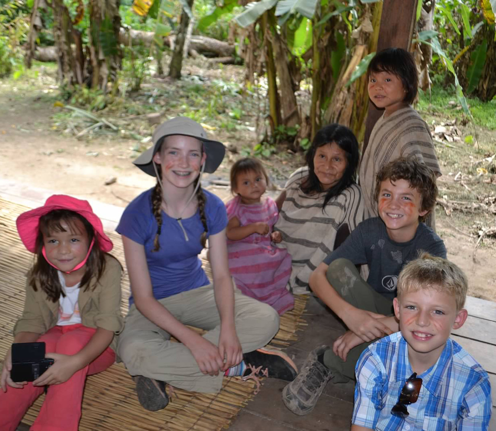 kids with machiguenga tribe