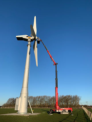 Platform Basket 33.15 33 metre Tracked Spider Lift being used for installation of wind turbines on rough terrain