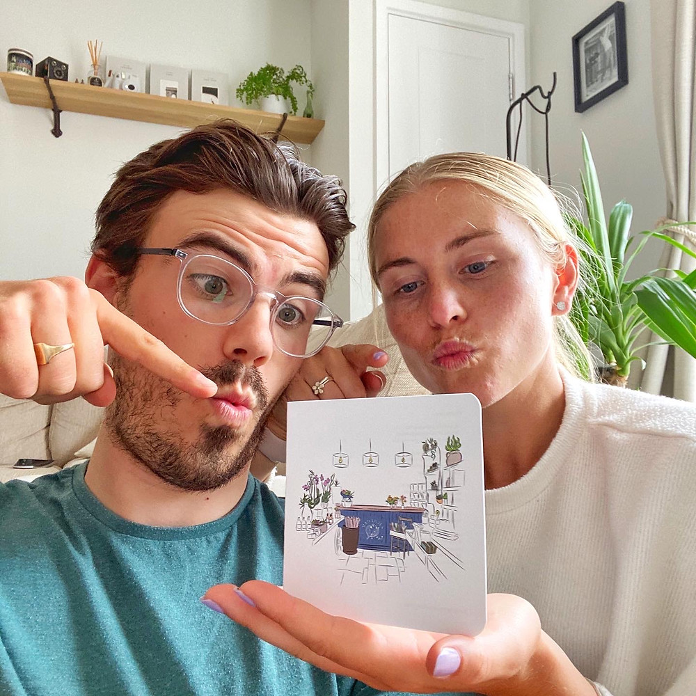 Lewis and Imogen making funny faces with their mad lilies gift card illustration