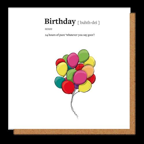 Birthday Definition Card
