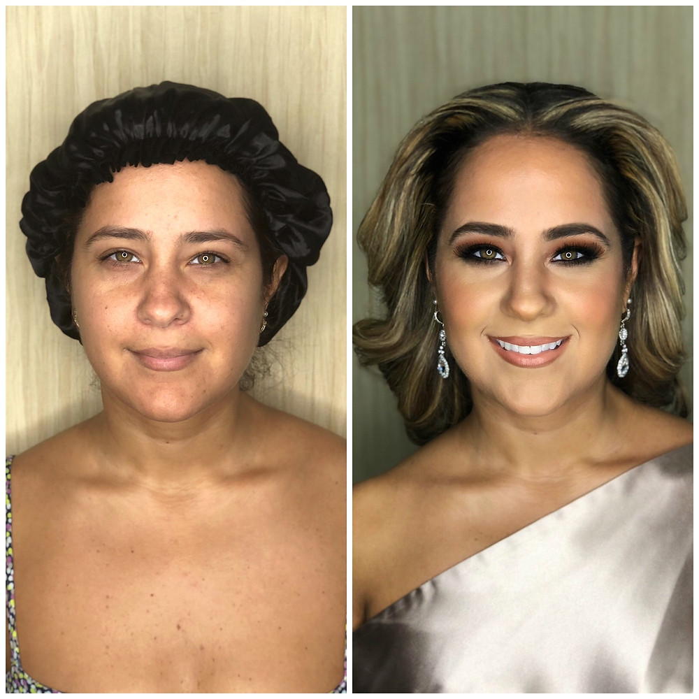 before and after makeup for wedding guest