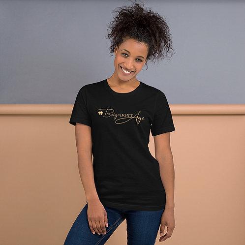 Beige Don't Age Beige Logo Short-Sleeve Unisex T-Shirt