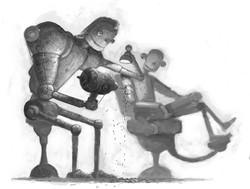 Robots getting tattoo by Dave Gordon