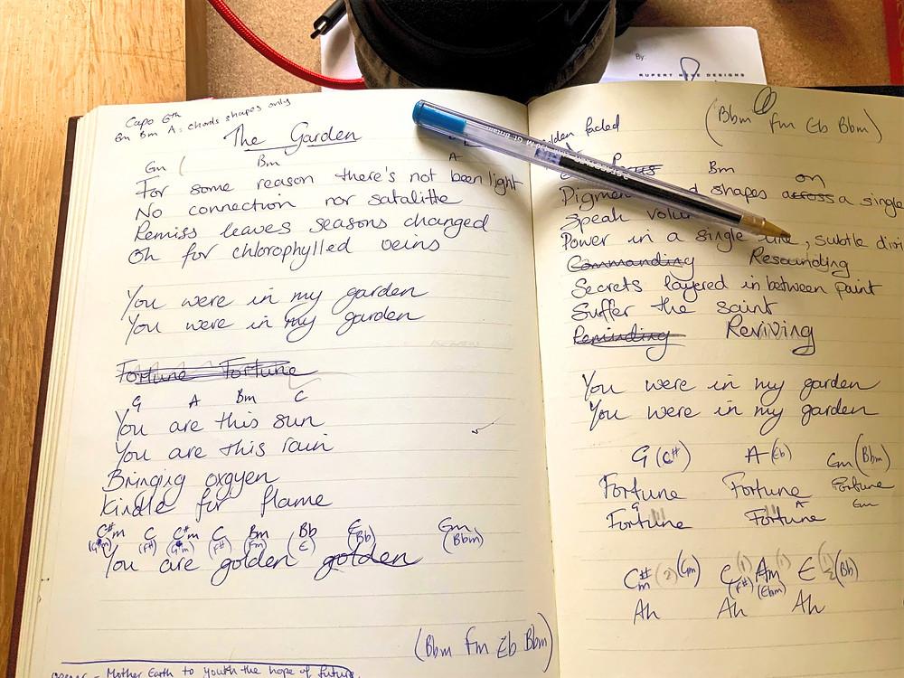 Notebook snap of 'Oxygen' lyrics