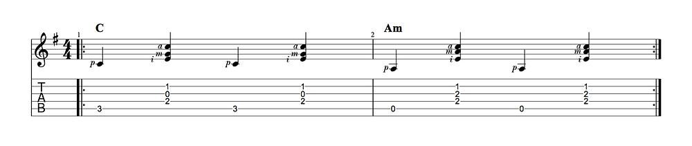 Übung mit C-Dur und A-Moll