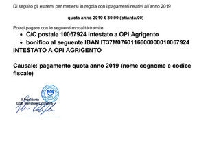 PAGAMENTO QUOTA ANNO 2019