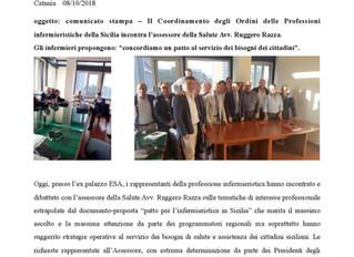 Il Coordinamento degli Ordini delle Professioni infermieristiche della Sicilia incontra l'assessore