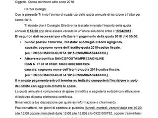 Quota iscrizione albo anno 2018 scadenza 15/04/2018
