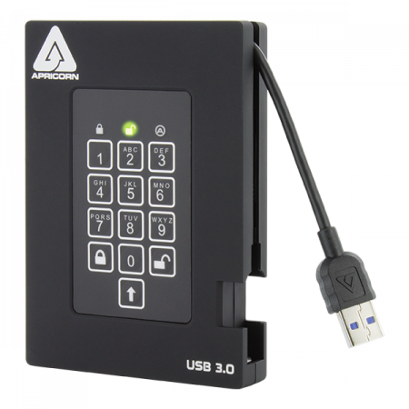 Aegis Fortress USB 3.0 encrypted hard drive with password PIN