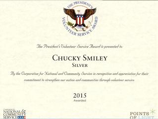 Founder Chucky Smiley receives 2015 President's Volunteer Service Award