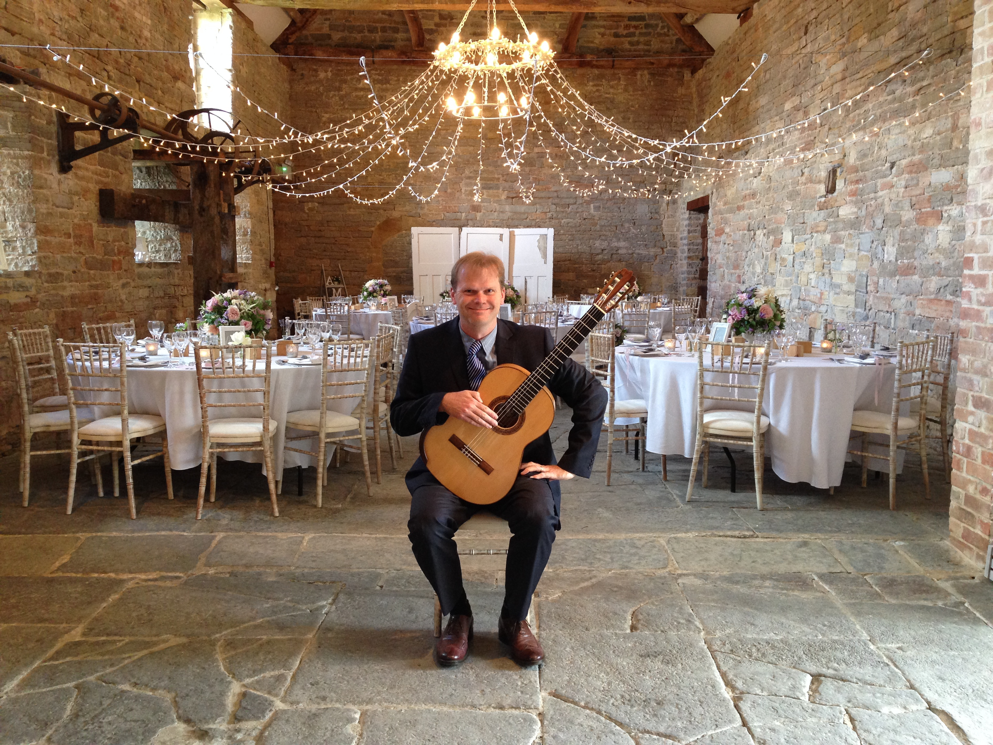 Wedding guitarist in function room