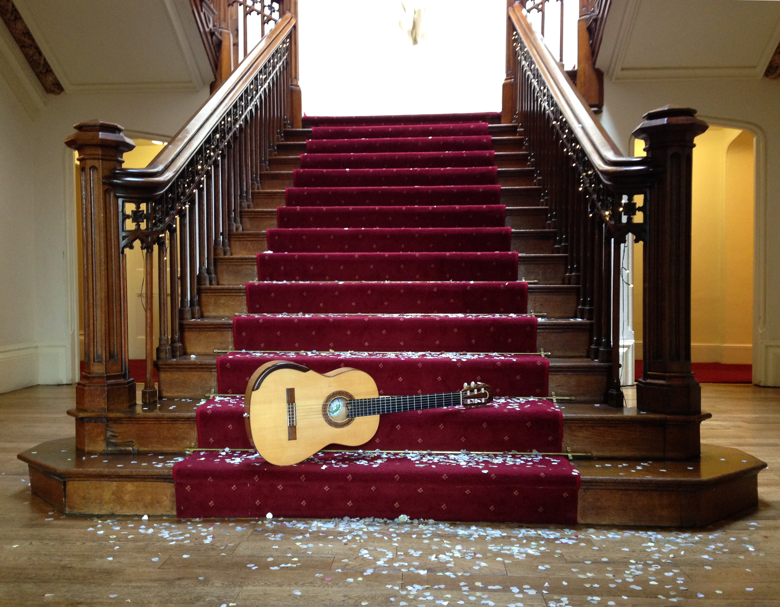 Wedding guitar on staircase