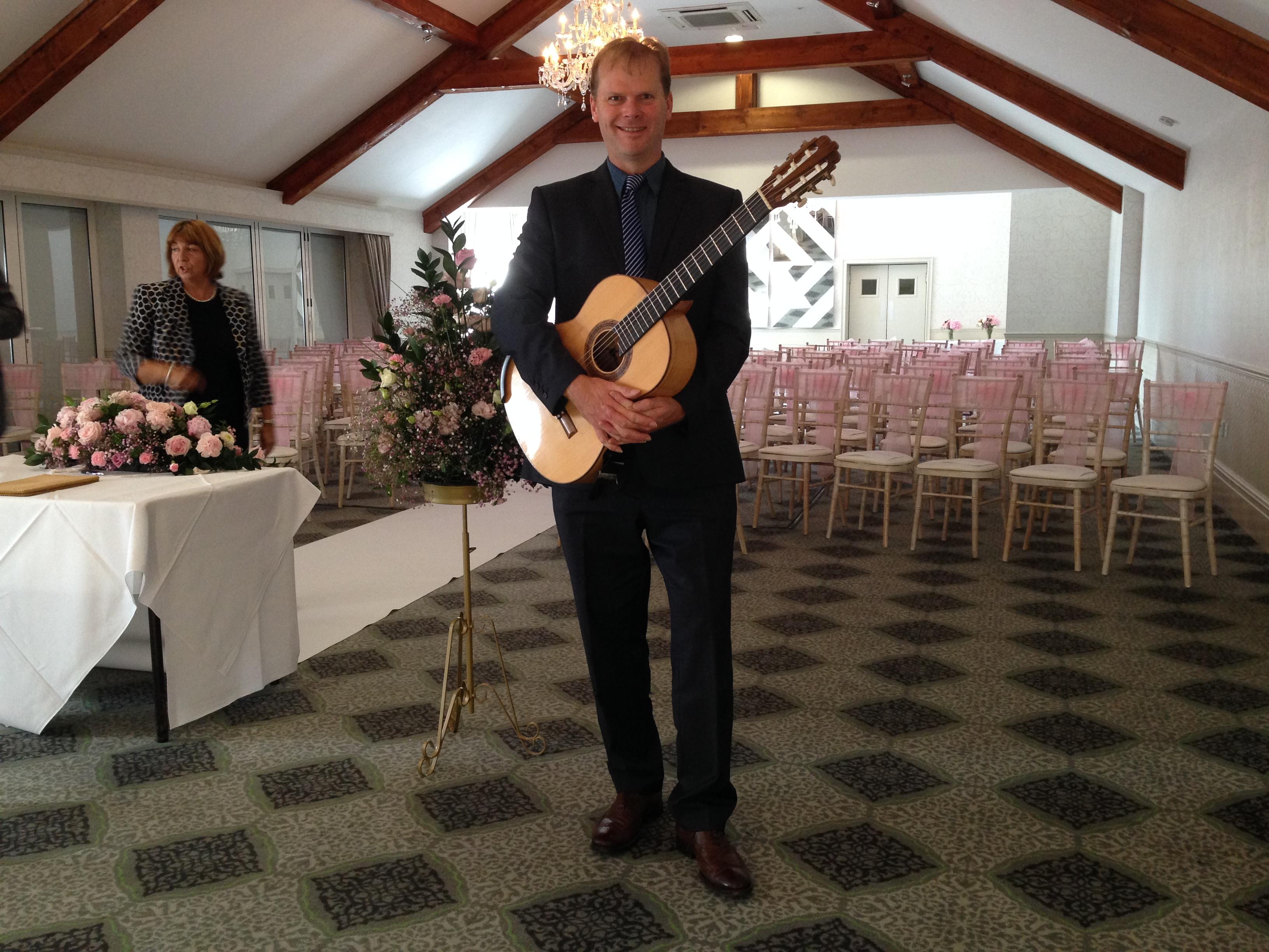 Guitarist at civil wedding ceremony