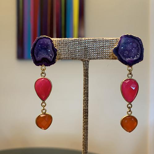 Druzy Gemstone Drop Earrings