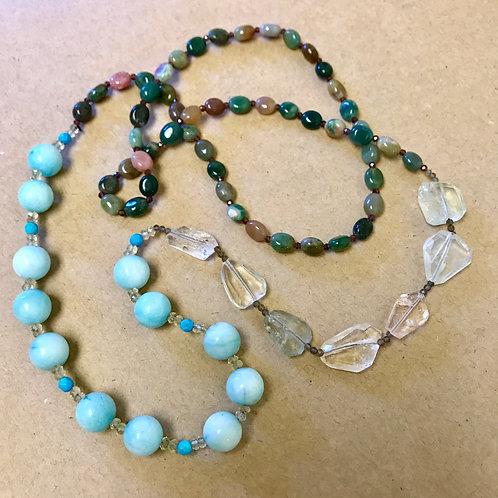 Asymmetrical Aquamarine Layering Necklace