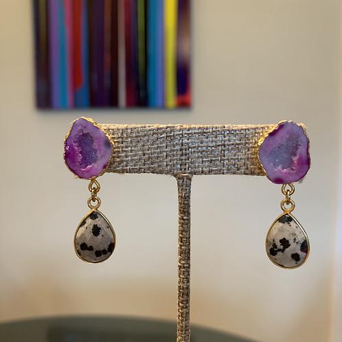 Petite Druzy and Dalmatian Jasper Drop Earrings