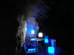 Terrasse de la plage la nuit