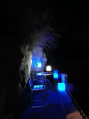 Terrasse de la plage de nuit