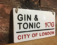 LOVE CERAMICS- London Street Signs-Gin & Tonic 3D ceramic Sign.