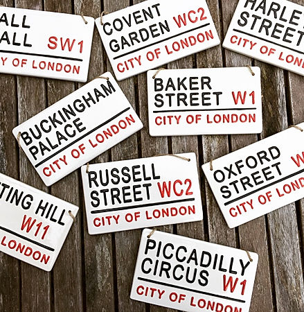 LOVE CERAMICS street signs Hand Made Hand Painted Ceramics