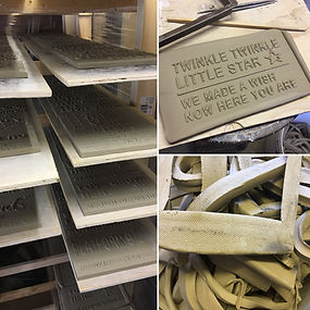Ceramic, London Street Signs. Freshly hand printed clay, in the drying process.