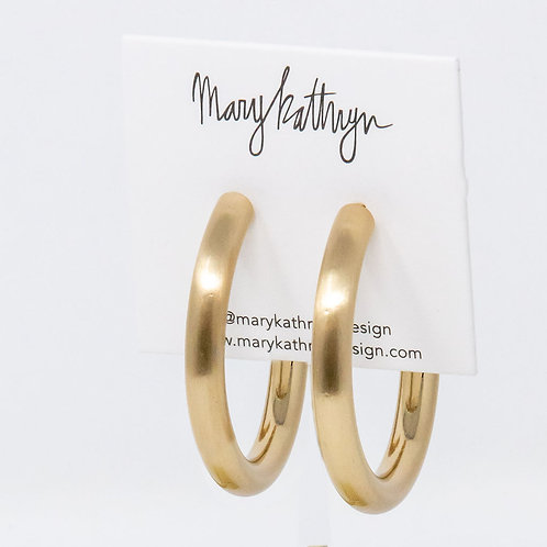 Thick Matte Gold Hoops