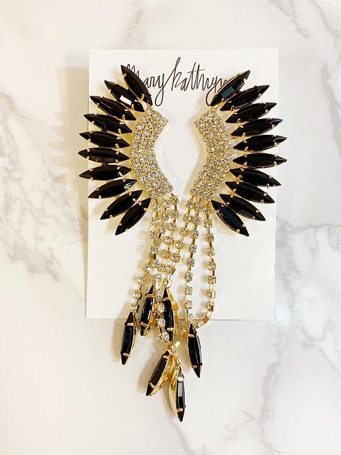 Black Rhinestone Feather Earrings
