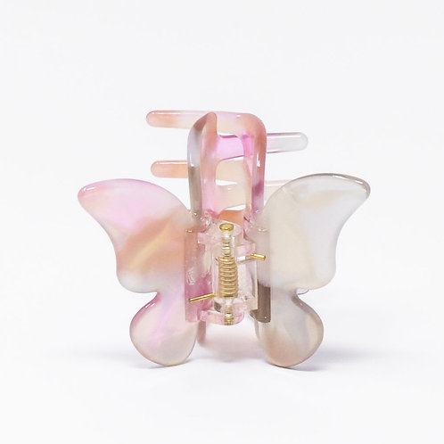 Pink / Tan Large Butterfly Clip