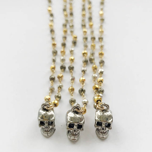 Silver Skull on Mixed Pyrite