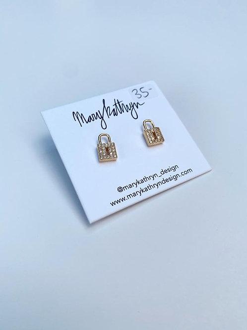 Rhinestone Lock Earrings