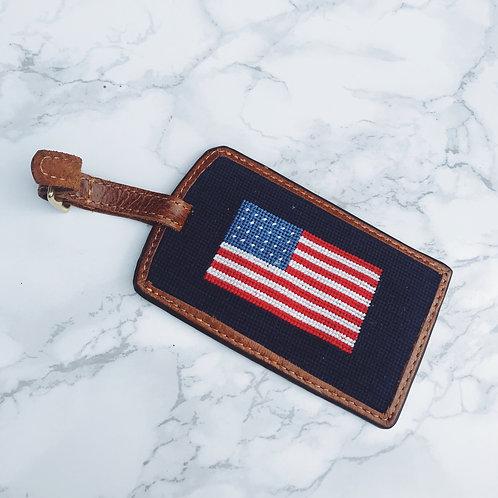 American Flag Needlepoint Luggage Tag