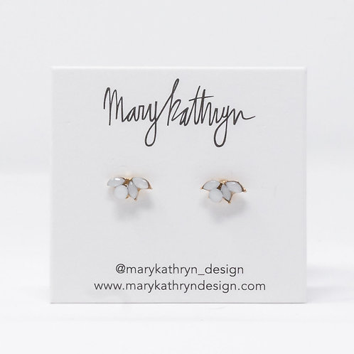 Gray Floral Studs