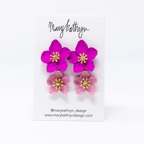 Chloe Pink Flower Earrings