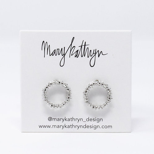 Textured Silver Circle Studs