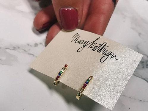 Tiny Rainbow Rhinestone Hoop Earrings