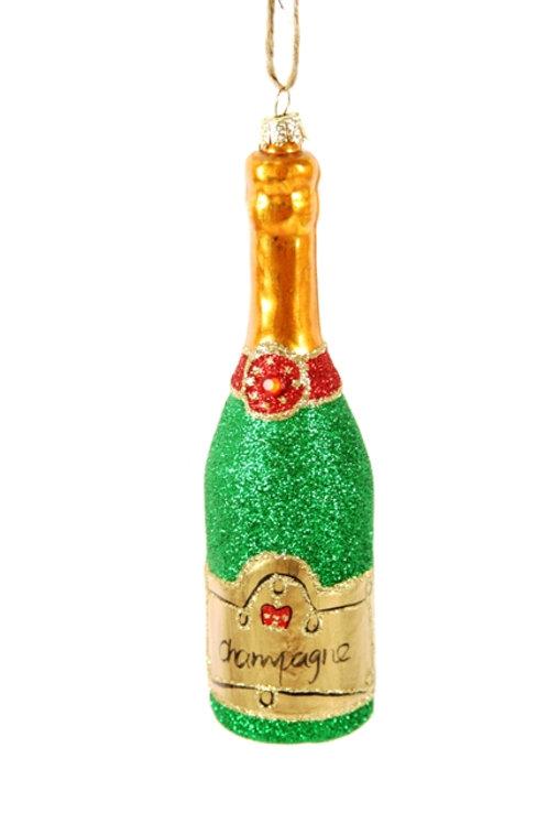 Glittered Champagne -Green Ornament